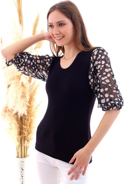 Cotton Mood 20050522 Süprem Viskon Kapri Kol Gipeli Bluz Siyah Çıçek Desen
