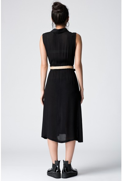 Cotton Mood 20054503 Şile Bezi Cepli Kolsuz Uzun Elbise Siyah