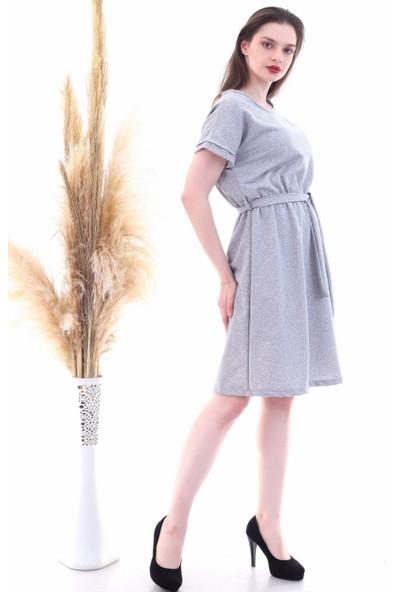Cotton Mood 9292931 Ikiiplik Beli Lastikli Yarasa Kol Elbise Gri Melanj