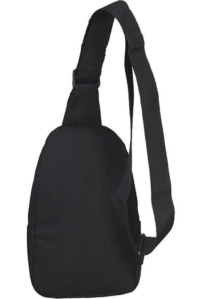 Strong Kanvas Çapraz Askılı Göğüs ve Sırt Çantası Body Bag Çanta Siyah