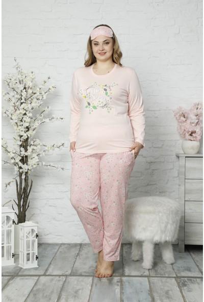 Pijama Evi Pembe Hello Spring Uzun Kollu Büyük Beden Battal Pijama Takımı