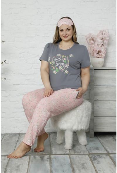 Pijama Evi Hello Spring Desenli Kısa Kollu Büyük Beden Battal Pijama Takımı