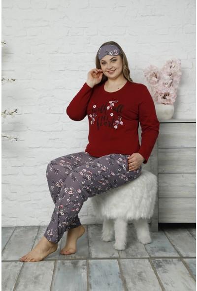 Pijama Evi Kırmızı My Heart Desenli Uzun Kollu Büyük Beden Battal Pijama Takımı
