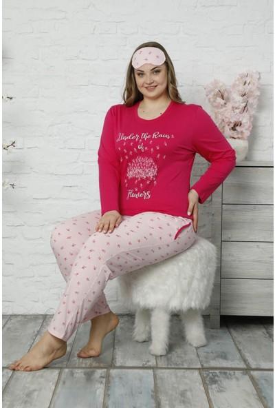 Pijama Evi Kırmızı Under The Rain Uzun Kollu Büyük Beden Battal Pijama Takımı