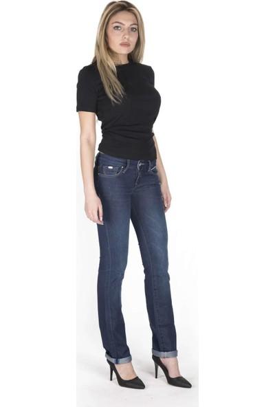 Blue White Düşük Bel Cep Detaylı Kadın Pantolon