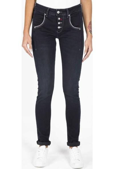 Blue White Kadın Cep Detaylı Düğmeli Şalvar Pantolon