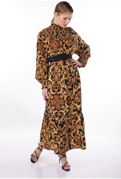 Markapi̇a Woman Desenli Dik Yaka Elbise