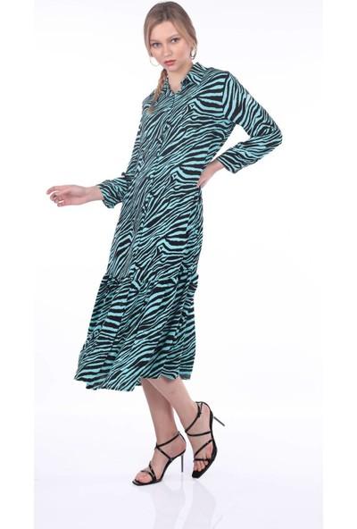 Markapia Woman Desenli Turkuaz Elbise