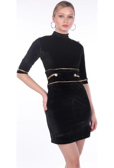 Markapia Woman Gold Detaylı Siyah Elbise