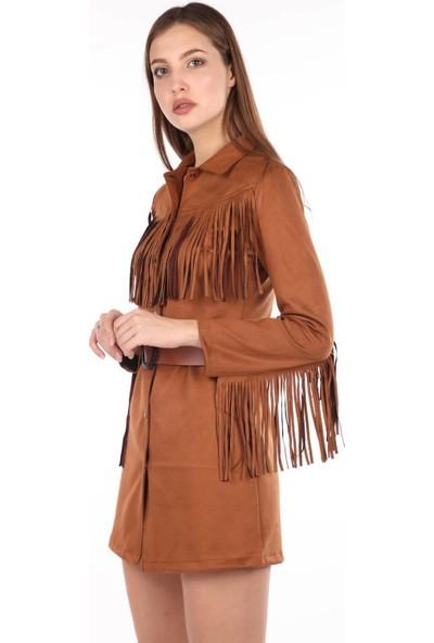 Markapia Woman Saçaklı Süet Elbise