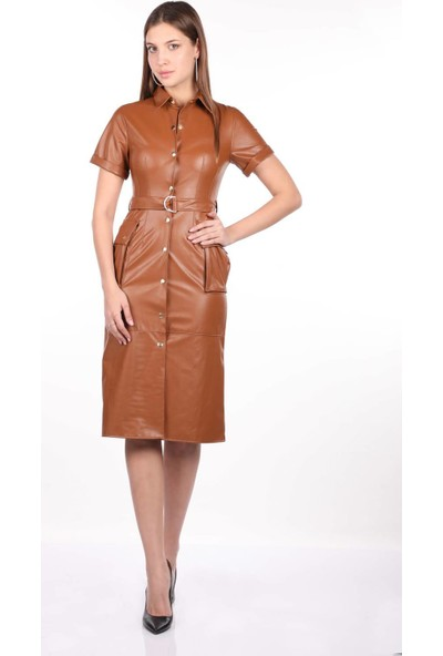 Markapia Woman Suni Deri Elbise