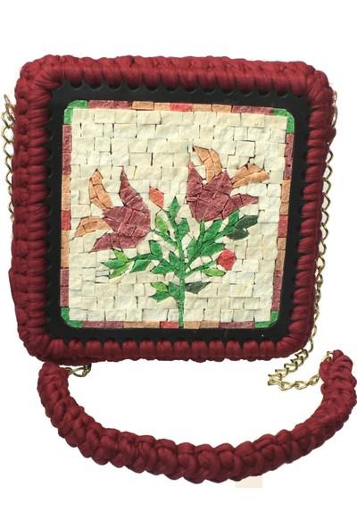Antik Mozaik Lale Devri Çanta Doğal Taşlardan Mozaik El Yapımı Çanta