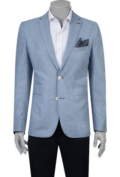 Twn Süper Slim Fit Mavi Kumaş Ceket