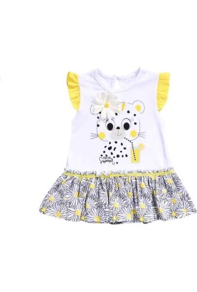 Miniworld Kız Bebek Papatya Motifli Penye Elbise