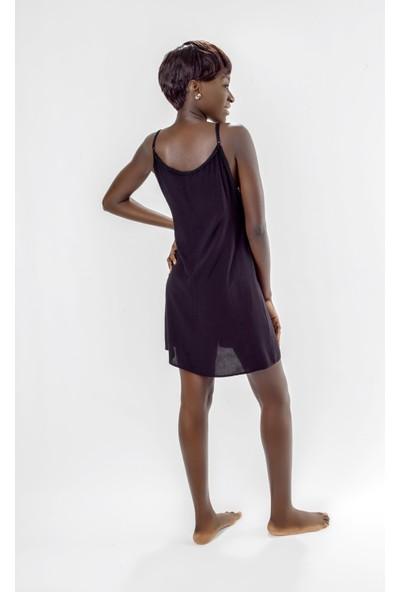 Jacket & Vest Siyah Askılı Ponponlu Mini Elbise 42