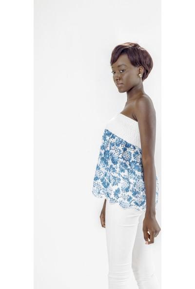 Jacket & Vest Beyaz Straplez Çiçek Desenli Gipeli Brode Bluz 38