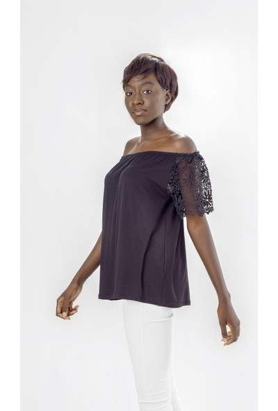 Jacket & Vest Siyah Dantel Kollu Bluz 46