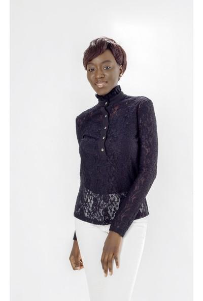 Jacket & Vest Siyah Dantelli Şık Uzun Kollu Gömlek 36