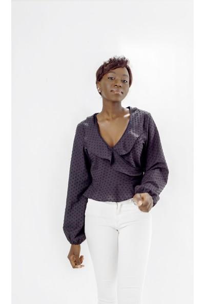 Jacket & Vest Siyah Kruvaze Şık Uzun Kollu Gömlek 40