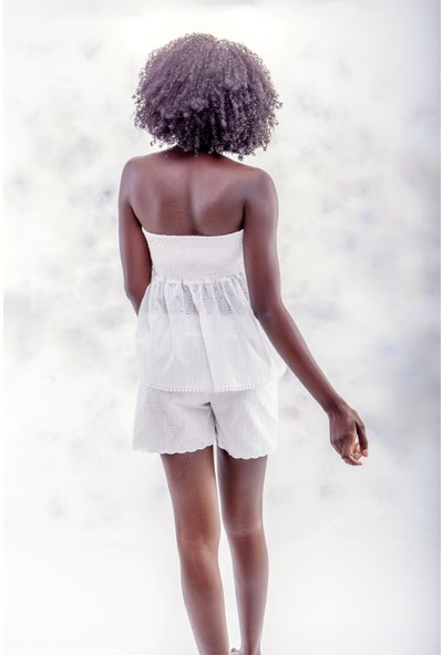 Jacket & Vest Beyaz Straplez Gipeli Brode Bluz 38