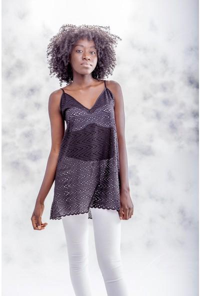Jacket & Vest Siyah Askılı Brode V Yaka Bluz 38