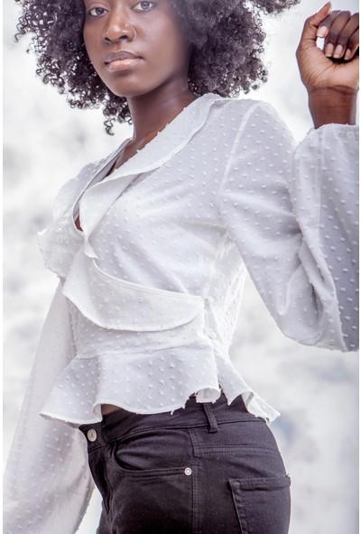 Jacket & Vest Beyaz Kruvaze Şık Uzun Kollu Gömlek 40