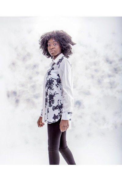 Jacket & Vest Beyaz Üzerine Siyah Desenli Uzun Kollu Gömlek 38