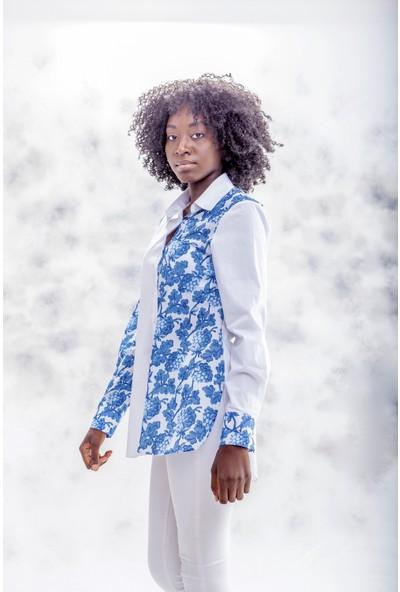 Jacket & Vest Beyaz Üzerine Mavi Desenli Uzun Kollu Gömlek 40