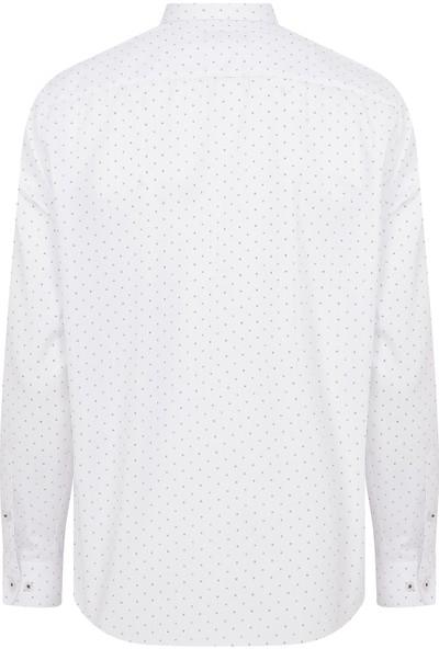 Hatemoğlu Beyaz Bordo Desenli Klasik Gömlek