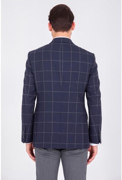 Hatem Saykı Kareli Lacivert Klasik Ceket