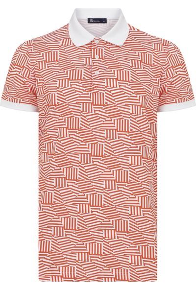 Hatemoğlu Turuncu Desenli Polo Yaka T-Shirt