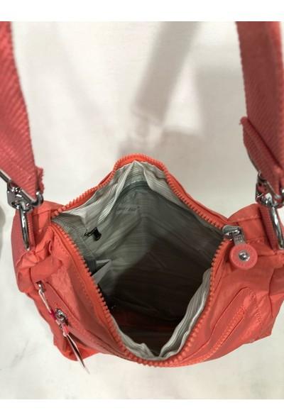 Smart Bags Kadın Krinkıl Kumaş Sırt ve Kol Çantası Ebat 37CM34CM Somon