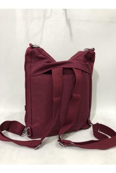 Smart Bags Kadın Krinkıl Kumaş Sırt ve Kol Çantası Ebat 37CM34CM Bordo