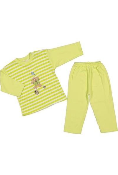 AlpCollection Yeşil Ayıcıklı 2'li Pamuklu Alt Üst Pijama Takım