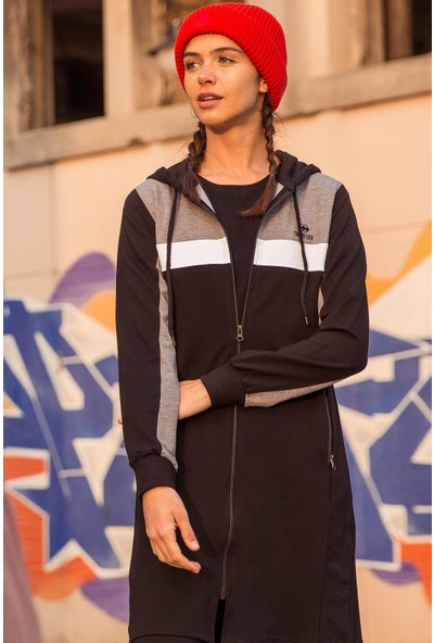 Tommy Life Ön Garnili Siyah-Gri Kadın Tunik Takım