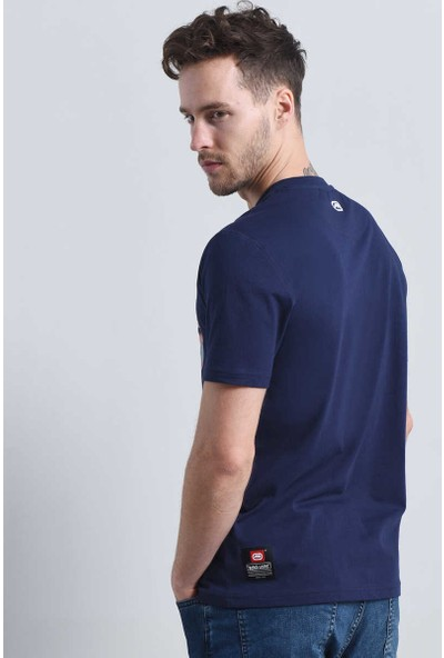 Ecko Lacivert Erkek Baskılı Bisiklet Yaka T-Shirt