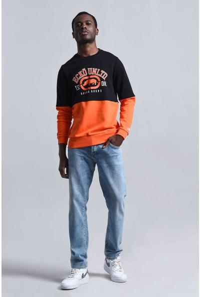 Ecko Siyah Erkek Baskılı Bisiklet Yaka Sweatshirt
