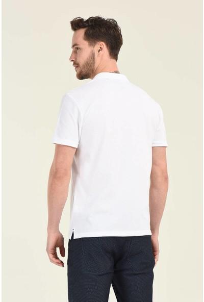 RWB Erkek Basic Nakışlı Beyaz Polo Yaka T-Shirt