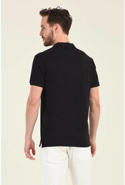 RWB Erkek Basic Nakışlı Siyah Polo Yaka T-Shirt