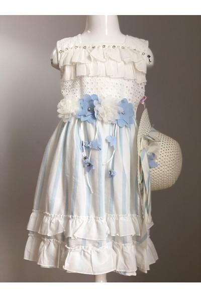 Tivido Mavi Çizgili Pamuklu Şapkalı Fisto Kumaş Çiçek Detay Kız Çocuk Elbisesi