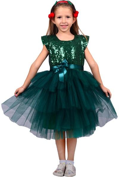 Pumpido Yeşil Tütülü Elbise