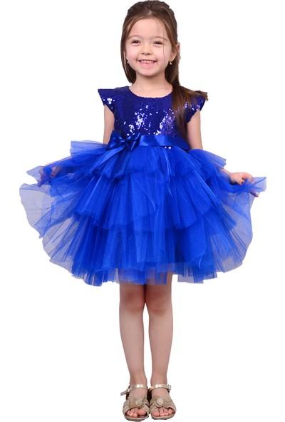 Pumpido Mavi Payetli Tütü Elbise