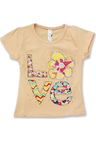 Difa Çiçekli Love Taşlı Kız Bebek T-Shirt