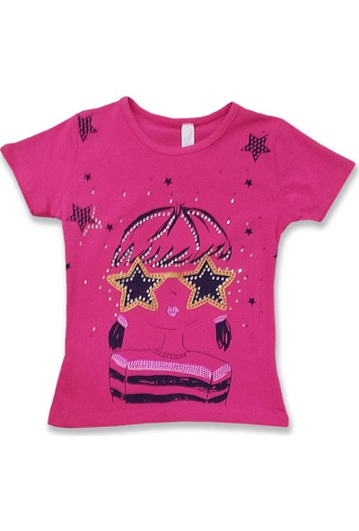 Difa Yıldız Gözlüklü Kız Çocuk Baskılı T-Shirt