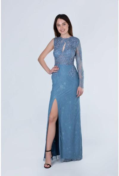 Sibelle Mavi Yırtmaçlı Ince Dantel Üzeri Işlemeli Uzun Elbise