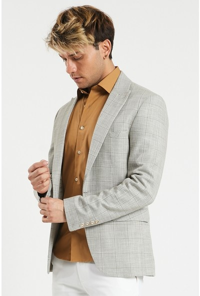 Actual Erkek Slim Fit Kareli Ceket
