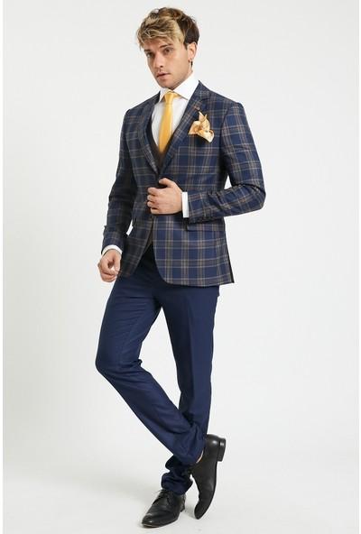 Actual Yelekli Erkek Takım Elbise Laci Bej