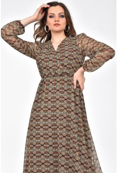 Park Karon Kadın Degaje Yaka Otantik Desenli Şifon Elbise Hardal 38