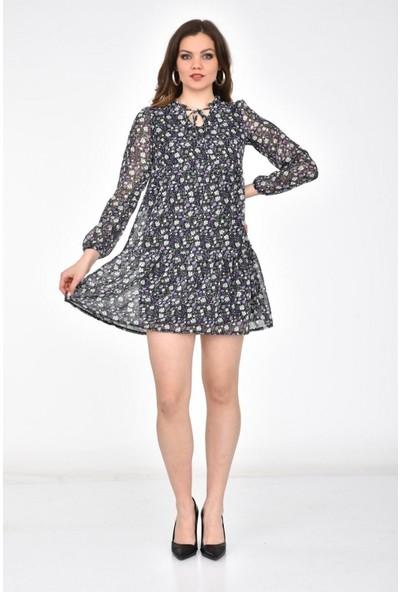 Park Karon Kadın Çok Renkli Çiçek Desenli Eteği Volanlı Kısa Şifon Elbise Mor 40