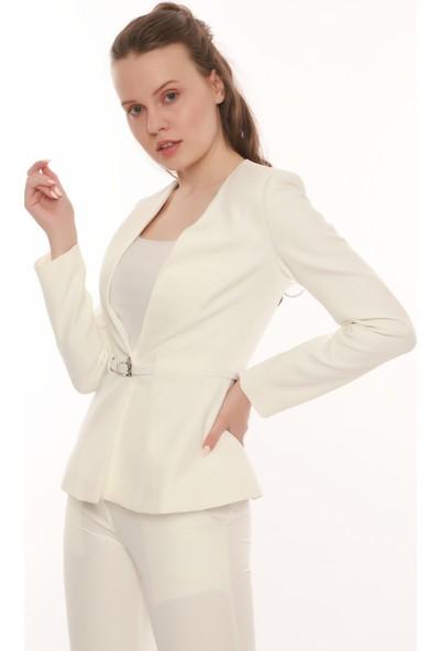 Mangosteen Kadın Kemerli Tek Düğme Ceket Ofis ve Günlük